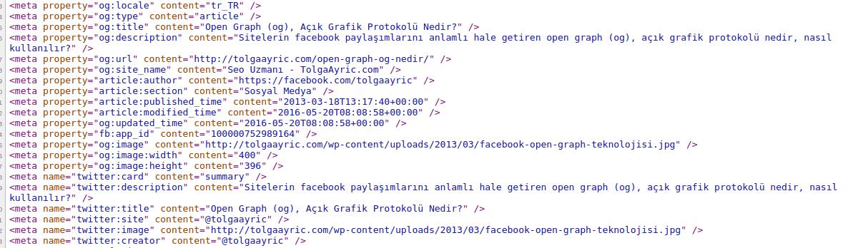 Örnek Open Graph Etiketleri